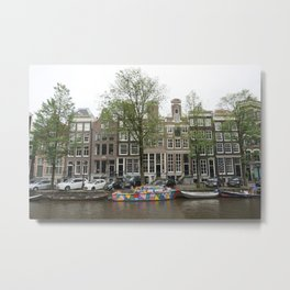 Abstract Amsterdam Boat Art Metal Print