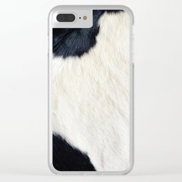 Cowhide Black and White Clear iPhone Case