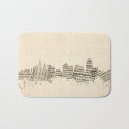 Cincinnati Ohio Skyline Sheet Music Cityscape Bath Mat