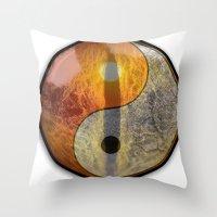 yin yang Throw Pillows featuring yin yang by Vector Art