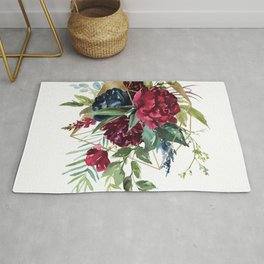 Watercolors rustic flowers bouquet geometric accent Rug