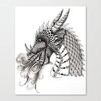 dragon Canvas Prints featuring Dragon by Elisa Camera