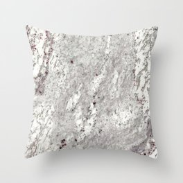 Milky Gray // Red Speckled River Of Marble Natural Stones Rock Textures Throw Pillow