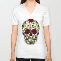 sugar skull V-neck T-shirts featuring Sugar Skull by Jade Boylan