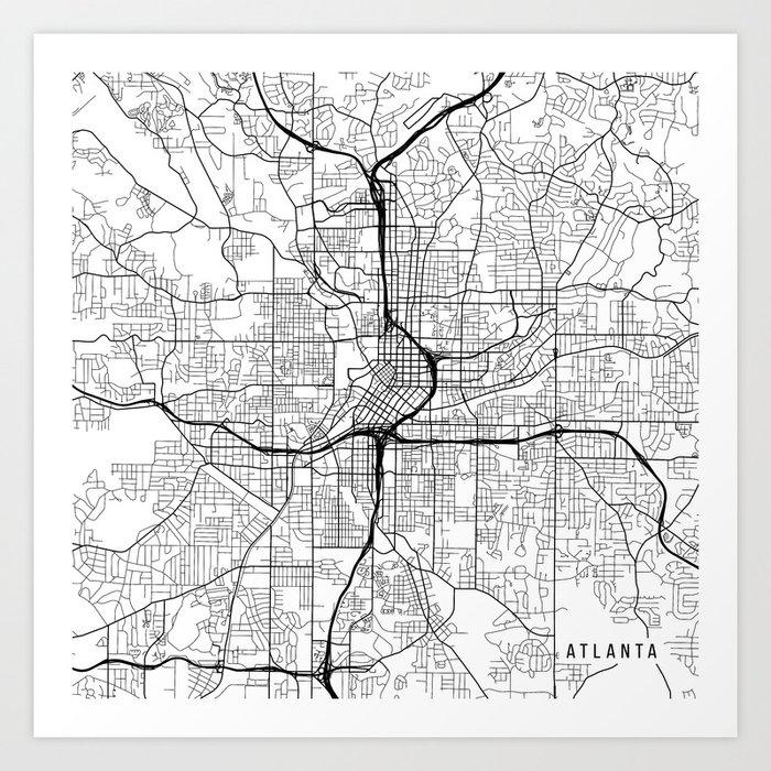 Atlanta On Map Of Usa.Atlanta Map Usa Black And White Art Print By Mainstreetmaps