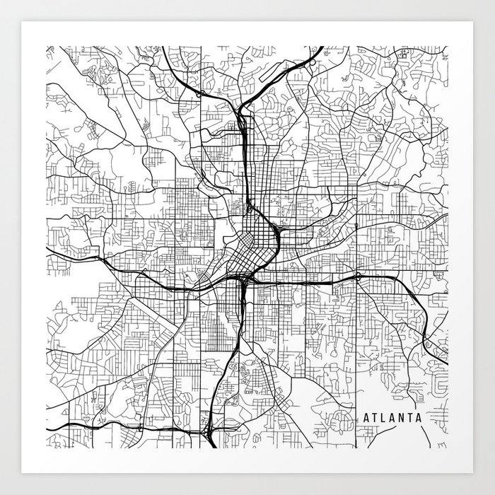 Atlanta On Map Of Usa.Atlanta Map Usa Black And White Art Print By Mainstreetmaps