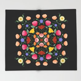 Folk Art Inspired Garden Of Fantastic Floral Delight Throw Blanket