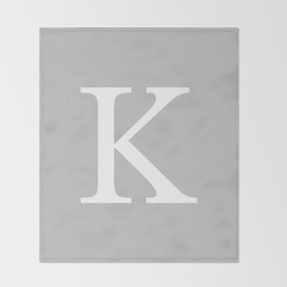 Silver Gray Basic Monogram K Throw Blanket