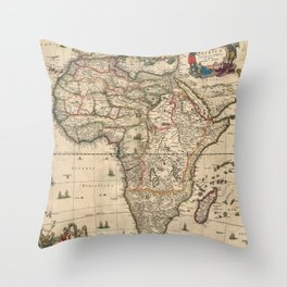 Vintage Map of Africa (1689) Throw Pillow