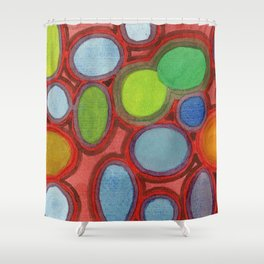 Abstract Moving Round Shapes Pattern Shower Curtain