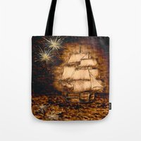 peter pan Tote Bags featuring Peter Pan by Red, the artist