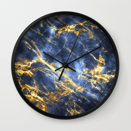 Ornate, Classic Gold and Sapphire Marble Wall Clock
