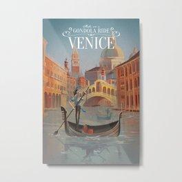 Retro Venice Travel Poster Metal Print