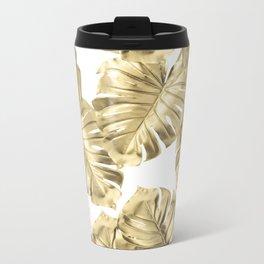 Gold Monstera Leaves on White 2 Metal Travel Mug