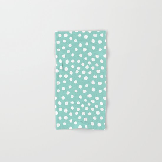 Minty mini painted dots polka dots mint pastel dotty trendy gender neutral must have dorm college  Hand & Bath Towel