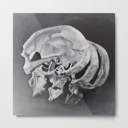 Sliced Skull Metal Print