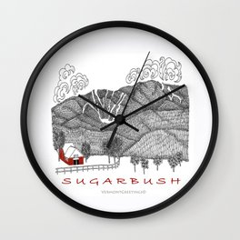 Sugarbush Vermont Serious Fun for Skiers- Zentangle Illustration Wall Clock