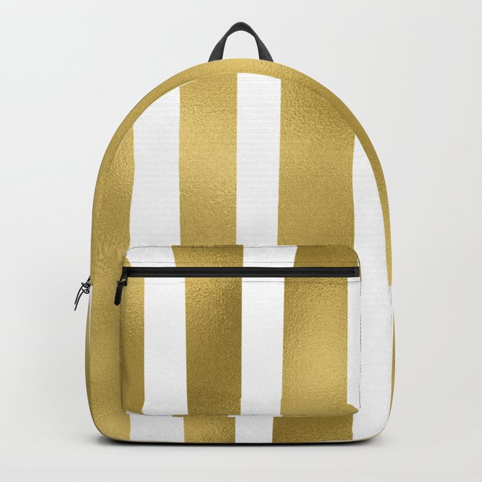 Gold unequal stripes on clear white - vertical pattern Backpack