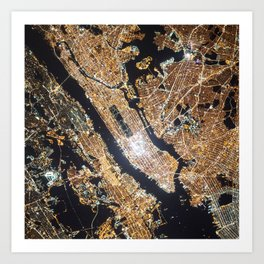 New York City, Map in Gold Art Print
