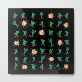 Sunny Cacti on Black Background Metal Print