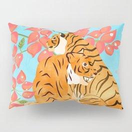 Tiger Honeymoon Illustration, Wildlife Floral Botanical Painting, Full Moon Cats Bougainvillea Pillow Sham