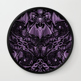 Bats and Beasts (Purple) Wall Clock