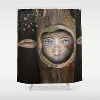tree of life Shower Curtains featuring Tree Life by Fizzyjinks