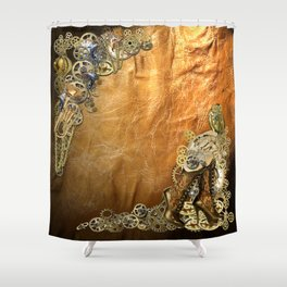 Gothic  - Steampunk sculptures On leather Shower Curtain