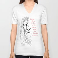 narnia V-neck T-shirts featuring Revelation 5:5 Lion by Vertical Designs