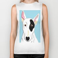 bull terrier Biker Tanks featuring Bull Terrier by EloiseArt