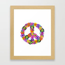 Peace Sign of Flowers Framed Art Print