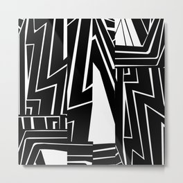 Large Graphic Black and White Ink Painting Metal Print