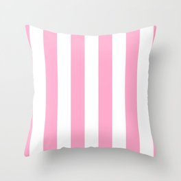 Pale Sweet Lilac and White Wide Vertical Cabana Tent Stripe Throw Pillow