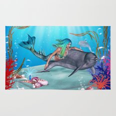 The Mermaid And The Dolphin Rug