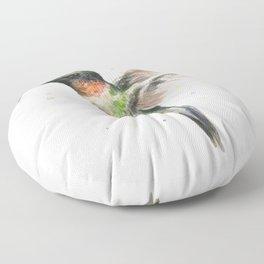 Hummingbird Watercolor Floor Pillow