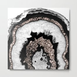 Gray Black White Agate with Rose Gold Glitter #1b #gem #decor #art #society6 Metal Print