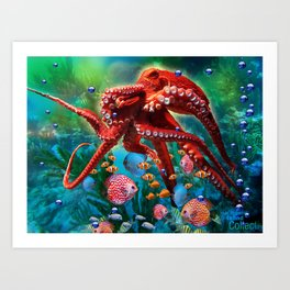Red Octopus with Fish Art Print