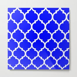 MOROCCAN COBALT BLUE AND WHITE PATTERN Metal Print