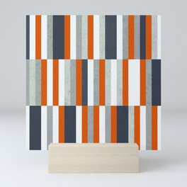 Orange, Navy Blue, Gray / Grey Stripes, Abstract Nautical Maritime Design by Mini Art Print