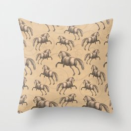 Galloping Spanish Horses Throw Pillow