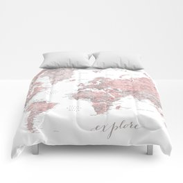 Explore - Dusty pink and grey watercolor world map, detailed Comforters
