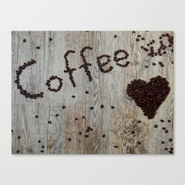 Love Coffee in Beans - Cafe or Kitchen Decor Canvas Print