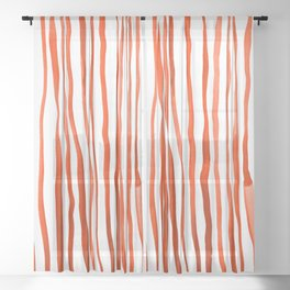 Vertical watercolor lines - orange Sheer Curtain