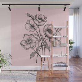 Palid Flowers  Wall Mural