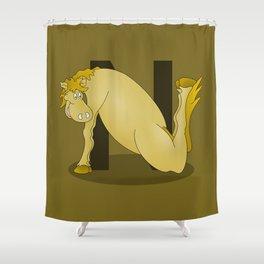 Pony Monogram Letter N Shower Curtain