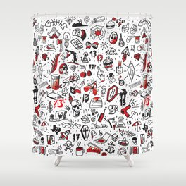 Friday the 13th Tattoo Flash Shower Curtain