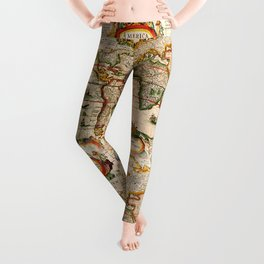 Vintage Map Leggings