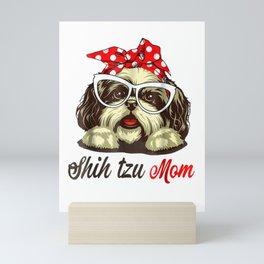 Shih Tzu Mom T-Shirt Gift For Women Mini Art Print