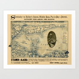 Map Of Lake Erie 1876 Art Print