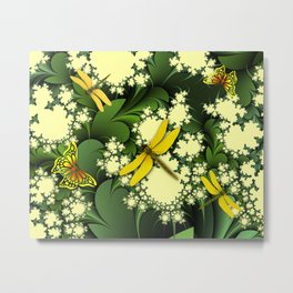 Yellow Dragonflies Metal Print